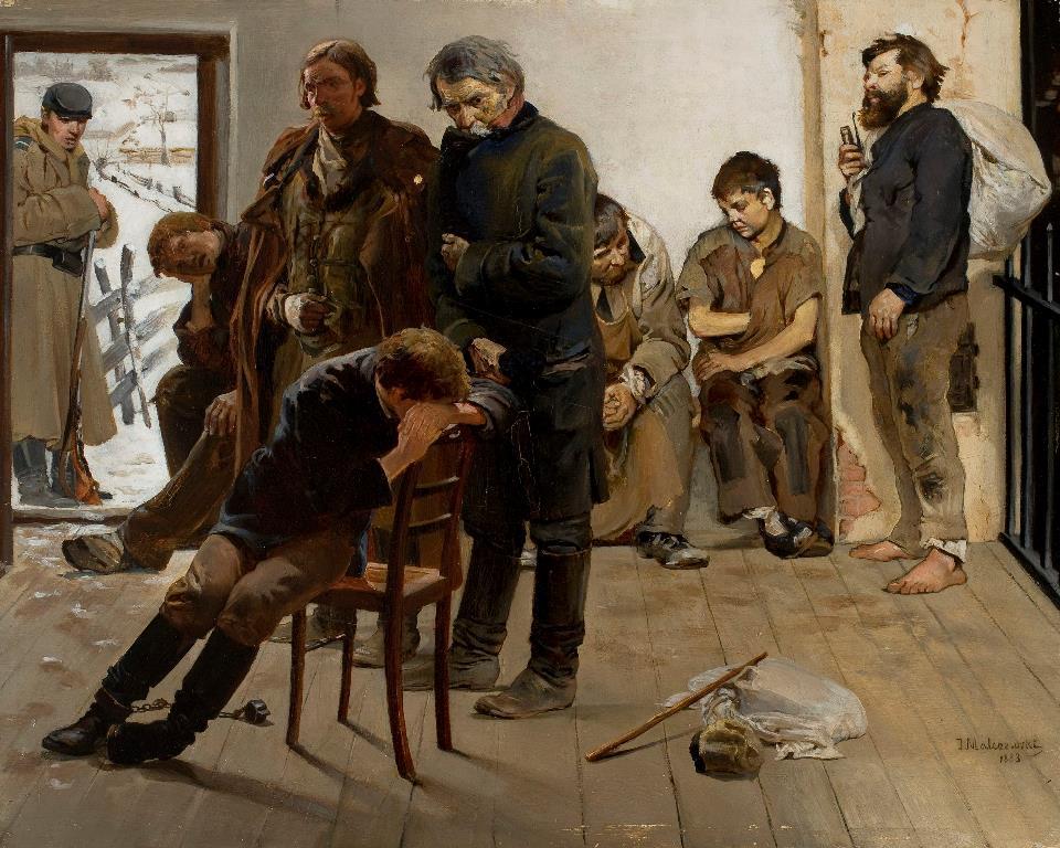 Jacek Malczewski Na etapie (Aresztanci) In the Arrest (Prisoners) 1883 MNW WarszawaWarsaw